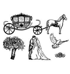 wedding set ink hand drawn vector image