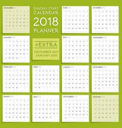 2018 calendar planner design week starts from vector image vector image