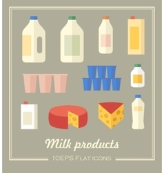 collection of dairy products vector image