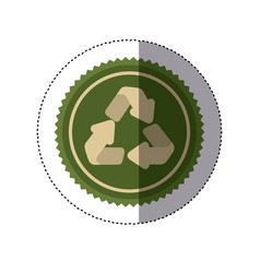 Color circular frame sticker with recycling symbol vector