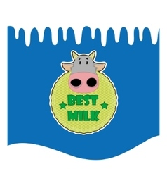Cute with milk wave and cute cow vector image