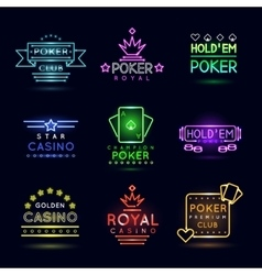 Neon light gambling emblems Poker club and casino vector image vector image