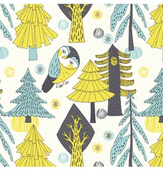 owl and tree drawing vector image vector image