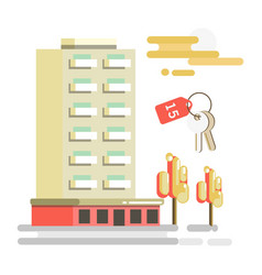 Residential building and flat key with number 15 vector