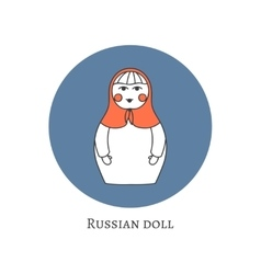 Russian traditional wooden toy icon Babushka vector image