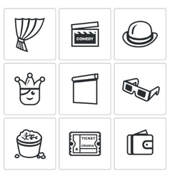 Set of comedy cinema icons curtain movie vector