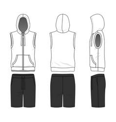 sleeveless hoody and shorts vector image vector image
