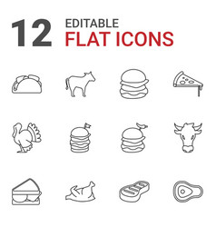 12 meat icons vector