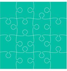 16 teal puzzle pieces - jigsaw - vector