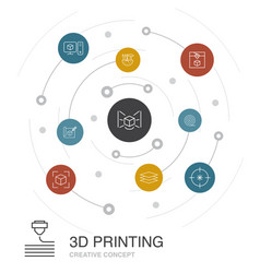 3d printing colored circle concept with simple vector
