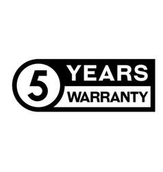 5 year warranty stamp on white vector
