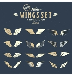 Abstract Wings Big Set Both Retro and vector