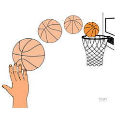 action path of basket ball vector image