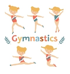 Adorable little gymnast girls characters set vector