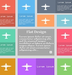 aircraft icon sign Set of multicolored buttons vector image