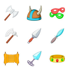 ancient weapon icons set cartoon style vector image