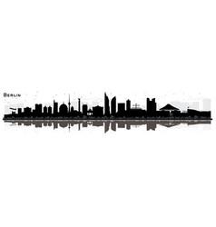 Berlin germany city skyline silhouette with black vector