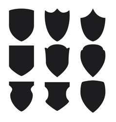 black shield icons set on white background vector image