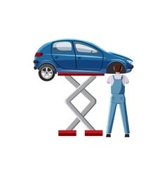 Blue car on a scissor lift platform icon vector