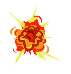 Bomb blast explosion isolated on white background vector