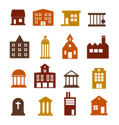 Buildings icon set for web sites and user vector