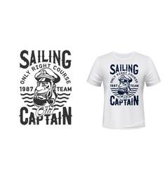Captain sailor t-shirt print mockup sailing team vector