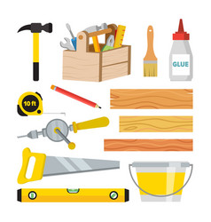 Carpentry and woodwork tools set repair vector