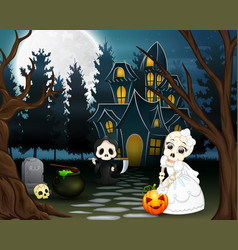 cartoon of grim reaper and skull bride in the hall vector image