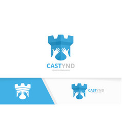 Castle and hands logo combination tower vector