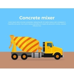 Cement Mixer Truck Banner Flat Design vector