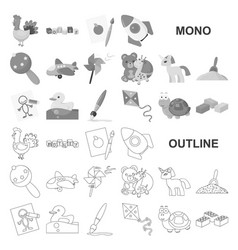 Children toy monochrom icons in set collection vector