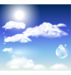 Clouds and bubbles vector image