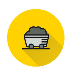 Coal mine wagon icon on round background vector