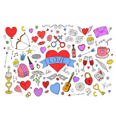 collection colorful valentines day elements in vector image