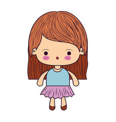 Colorful caricature little girl with straight vector