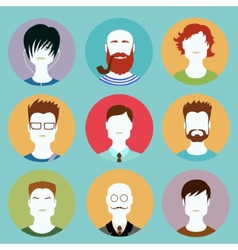Colorful Male Faces Circle Icons Set in Trendy vector image