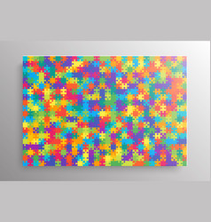 colorful pieces puzzle banner jigsaw banner frame vector image