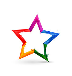 Colorful star icon low poly model design 3d vector