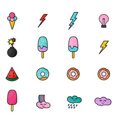 colorful stickers and icons with ice-cream donuts vector image