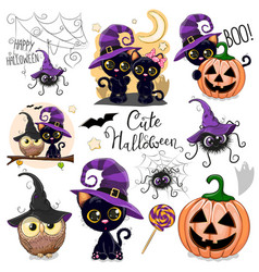 Cute halloween with owl black cat and spider vector