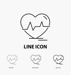ecg heart heartbeat pulse beat icon in thin vector image