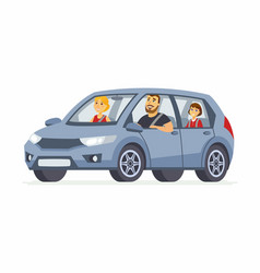 Family in the car - cartoon people character vector
