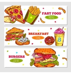 Fast Food Sketch Horizontal Banners vector
