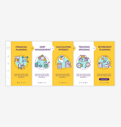 Financial literacy objectives onboarding template vector