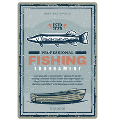 Fishing club tournament retro banner with fish vector