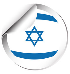 Flag of israel in round shape vector