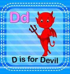 flashcard letter d is for devil vector image