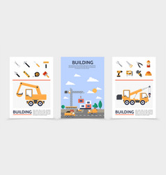 flat building industry posters vector image