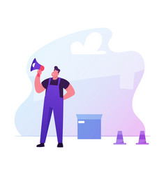 foreman in working overall yelling to megaphone vector image