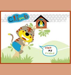 funny cat cartoon climb a tree vector image